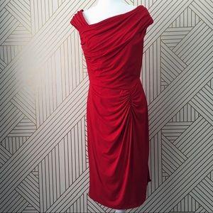 Tadashi Shoji ruched red cocktail dress